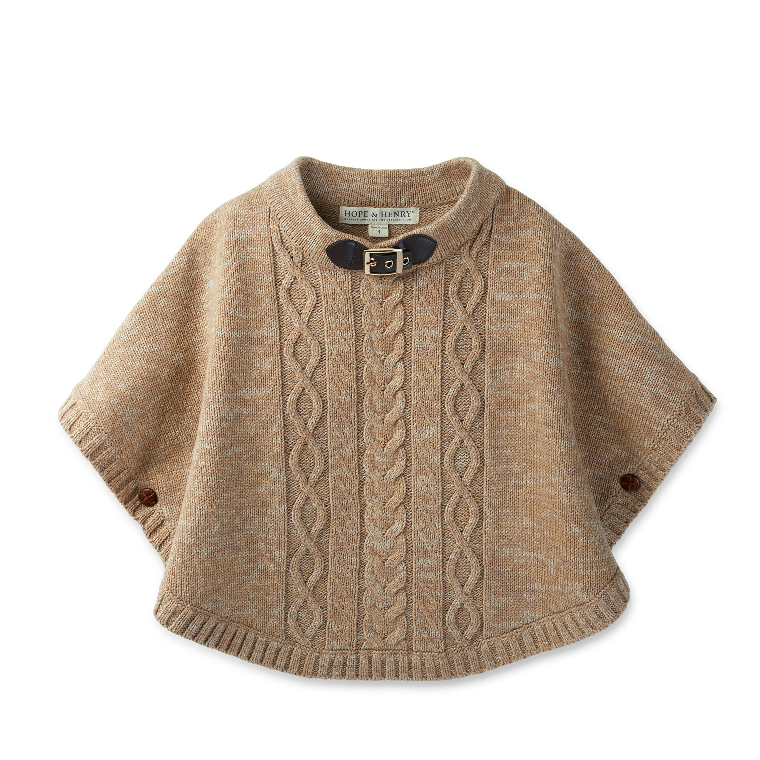 Hope & Henry Girls Tan Cable Sweater Cape