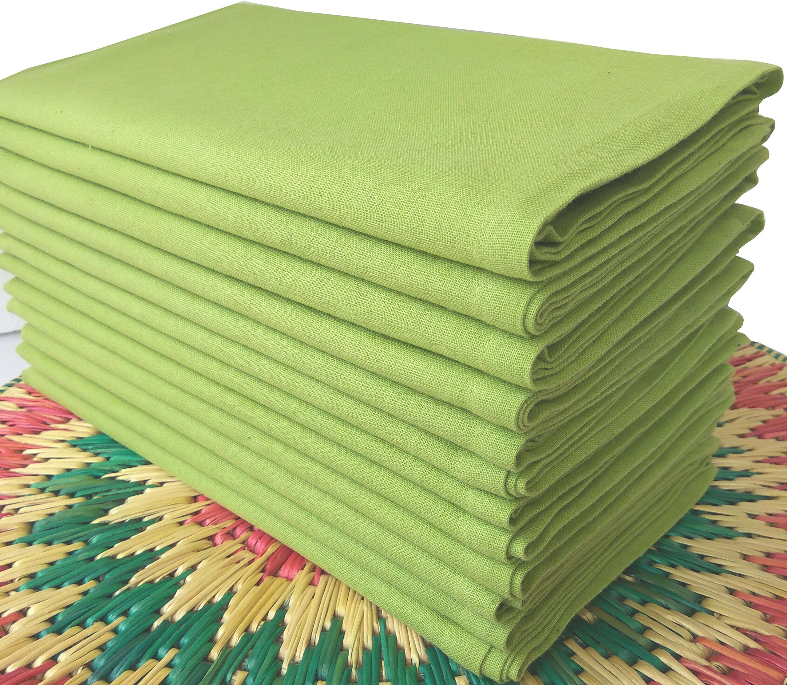Linen Clubs Pack of 12,100% Cotton, 20'' x 20'' Oversized Lime Green Colored Solid Dinner Napkin with Selvedge fold