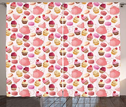 Amazon.com: Ambesonne Kitchen Curtains, Teaparty with Cupcakes ...