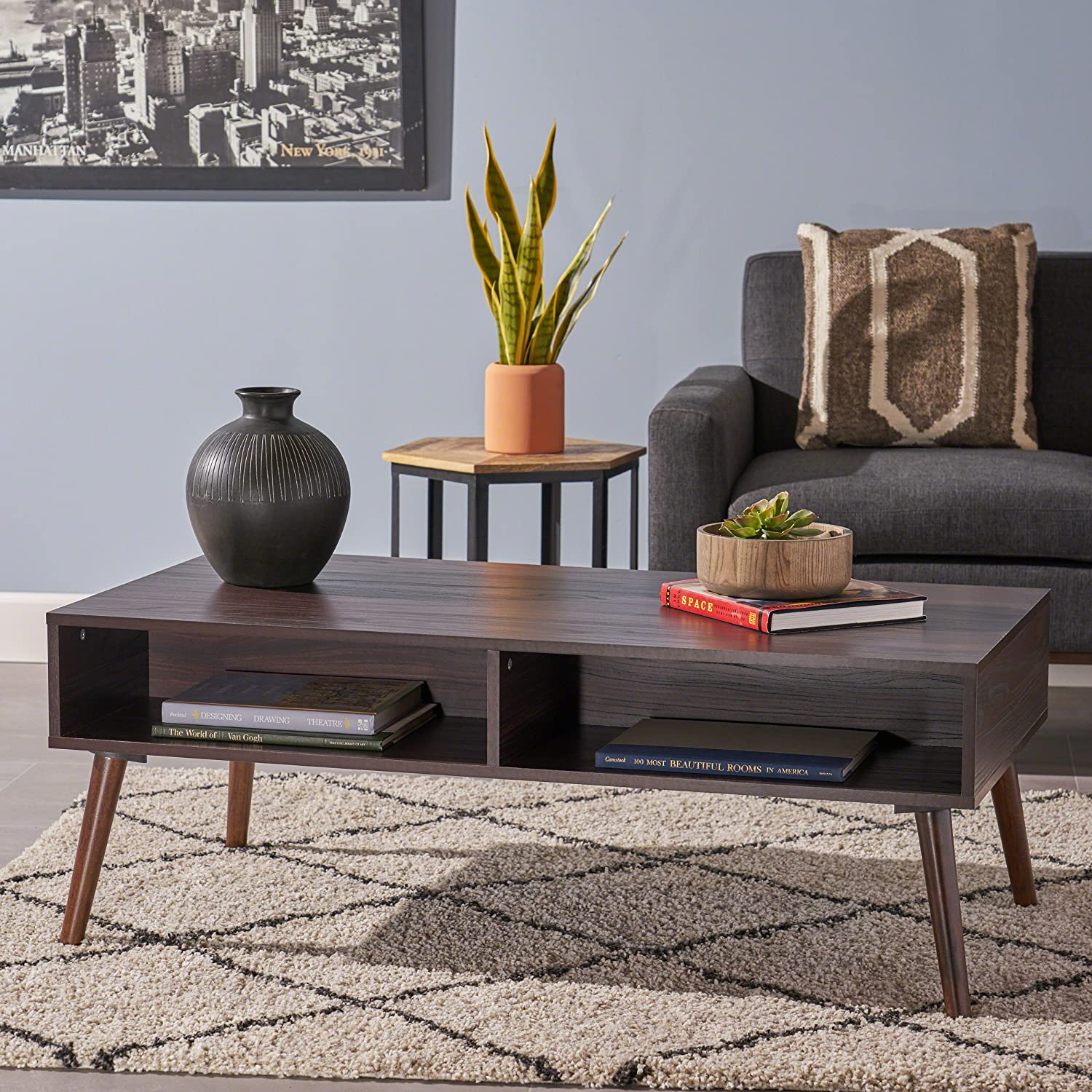Christopher Knight Home Andy Mid Century Modern Fuax Wood Overlay Coffee Table, Dark Walnut