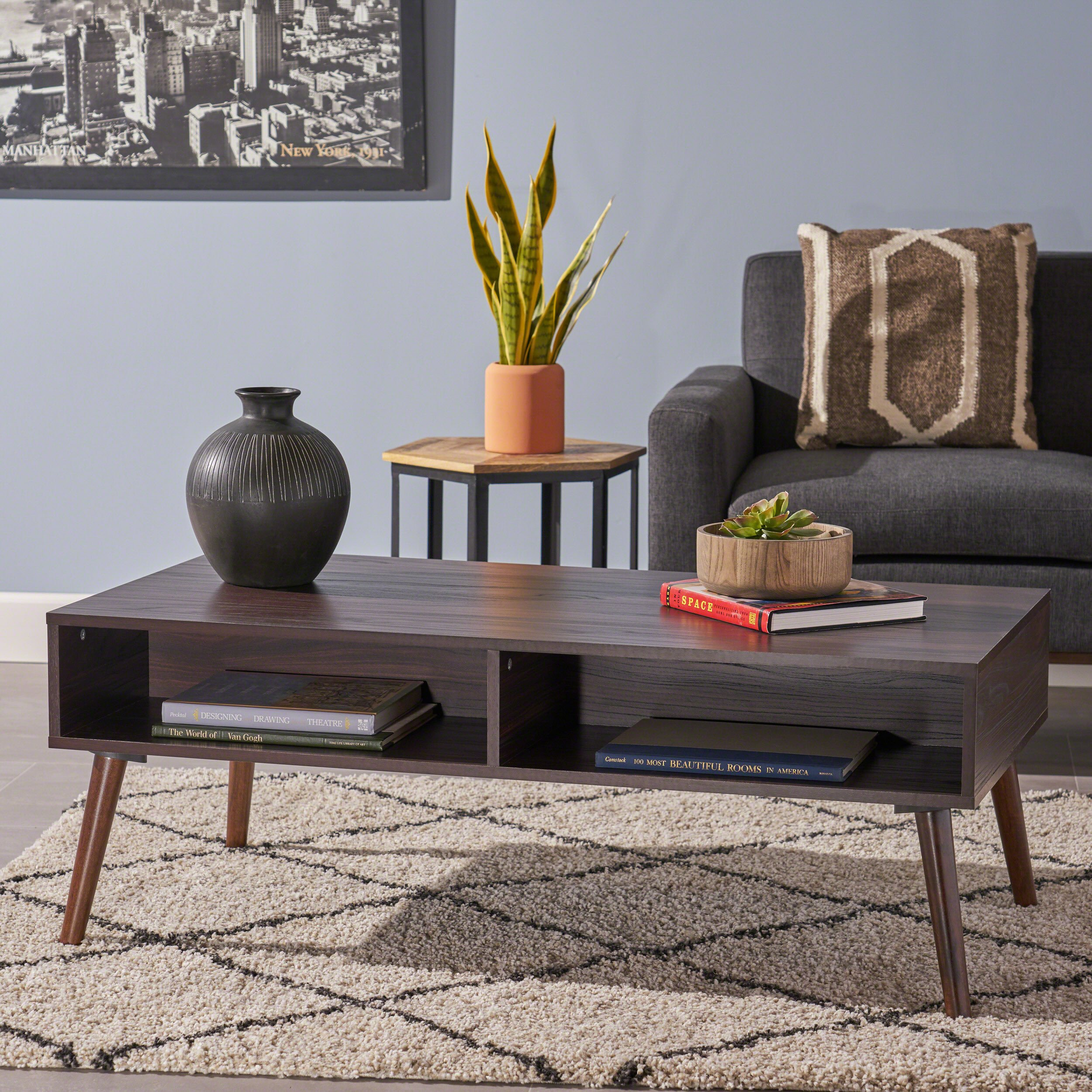 Christopher Knight Home Andy Mid Century Modern Fuax Wood Overlay Coffee Table, Dark Walnut by Christopher Knight Home
