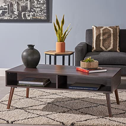 Amazoncom Andy Mid Century Modern Fuax Wood Overlay Coffee Table
