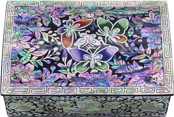 Inlaid Stone Trinket Box Mother of Pearl Onyx Fish