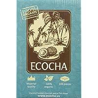 Ecocha Coconut Hookah Charcoal - 100% Organic Coco Coal - 108 Pieces