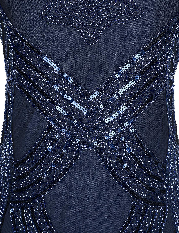 Vestido de cóctel con flecos, estilo años 20, para mujer Azul azul X-Large: Amazon.es: Ropa y accesorios