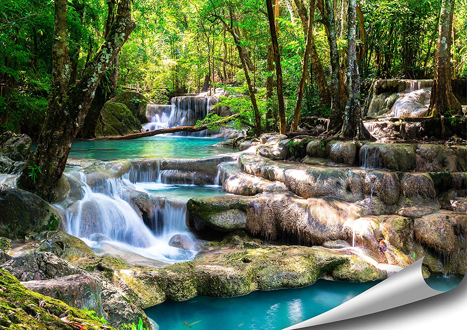 Artbay Tropical Waterfall In The Forest Poster Xxl 46 8 X 33 1 Inch 118 8 X 84 Cm Enchanting Waterfall In A Sun Flooded Forest Nature Poster Amazon In Home Kitchen
