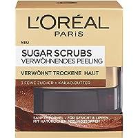 L'Oréal Paris Peeling voor gezicht en lippen, met suiker en cacaoboter, sugar scrubs verwennende peeling, 1 x 50 ml