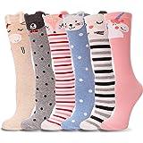 Girls Knee High Socks 6 Pairs Animal Pattern