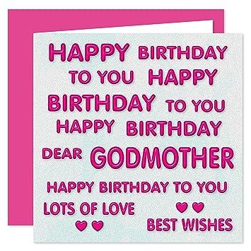 Godmother Happy Birthday Card Happy Birthday To You Dear Godmother