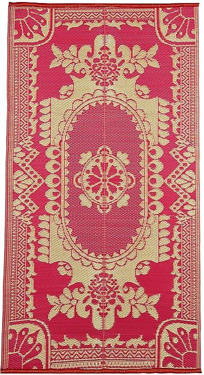 Sapana Carpet-Mats Chittagong - Red & Golden Plastic Floor Mat Plastic Chatai (3 x 6)