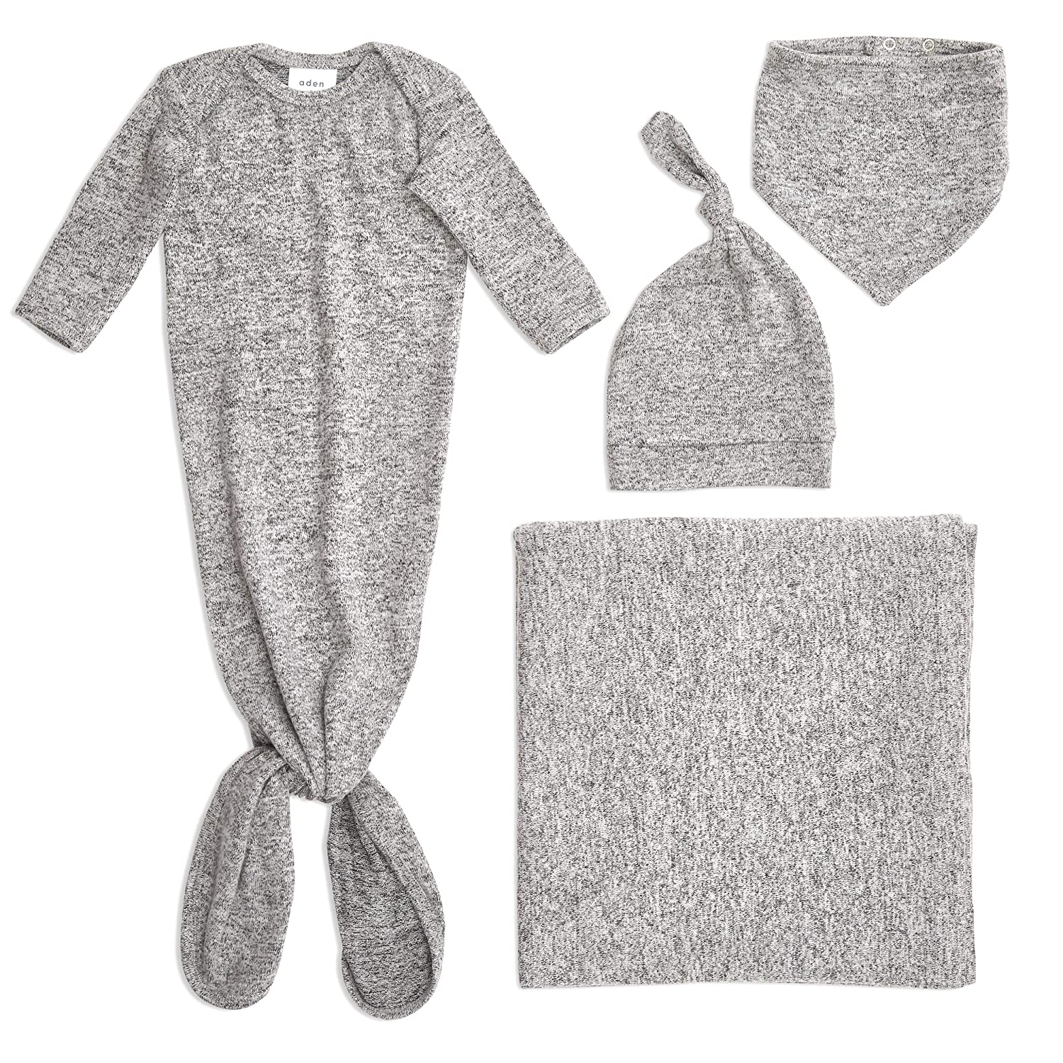 aden + anais Snuggle Knit Newborn Gift Set with Knotted Baby Gown, Swaddle Blanket, Infant Hat, and Bandana Bib, 0-3 Months, Heather Grey