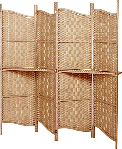 MyGift Freestanding Brown Wood Woven Paper Rattan Room Divider 4 Panel Screen w Removeable Display Shelves