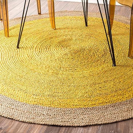 Amazon Com Nuloom Eleonora Hand Woven Jute Area Rug 4 Feet Yellow Home Kitchen