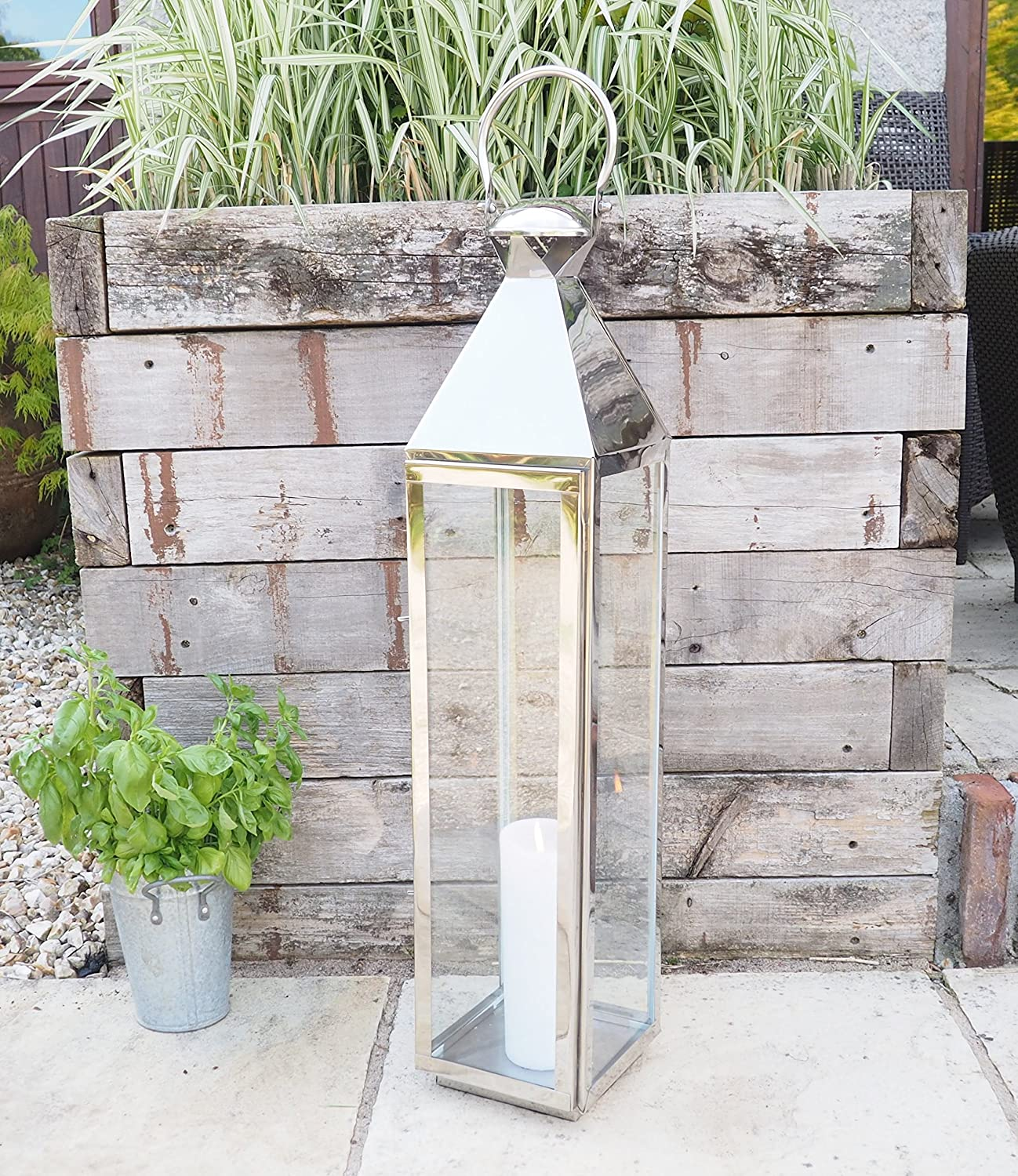 Extra Tall Stainless Steel Candle Lantern - High Grade Metal for Outdoor Use - Garden Wedding Patio Hotel - 85cm H Za Za Homes