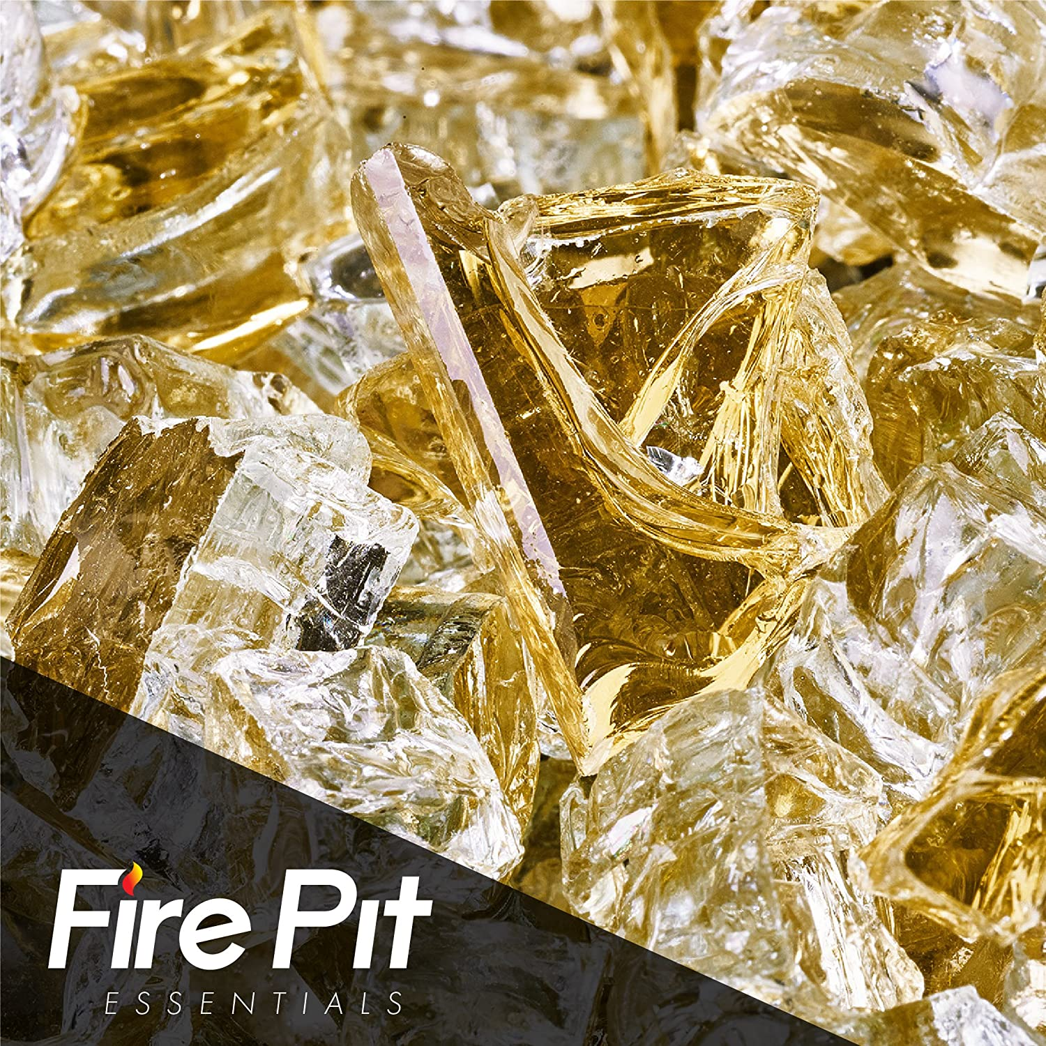 Fireglass 10-pound Reflective Fire Glass with Fireplace Glass and Fire Pit Glass, 1/2-inch, Gold Fire Pit Essentials