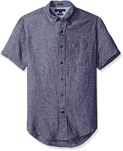 7ce7bc1e Tommy Hilfiger Mens Porter Solid Short Sleeve Shirt Shirts: Amazon.ca:  Clothing & Accessories