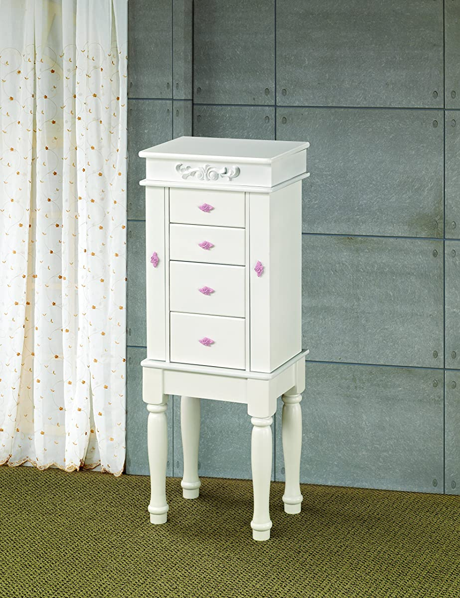 Coaster Traditional White Jewelry Armoire with Pink Interior