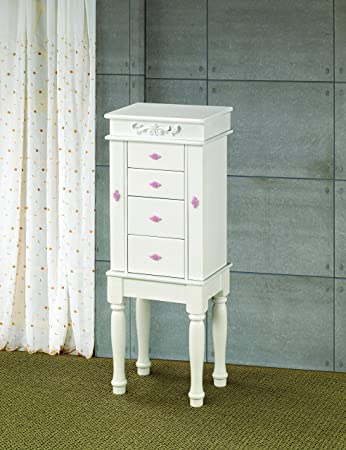 Amazoncom Coaster 900146 Traditional Jewelry Armoire White