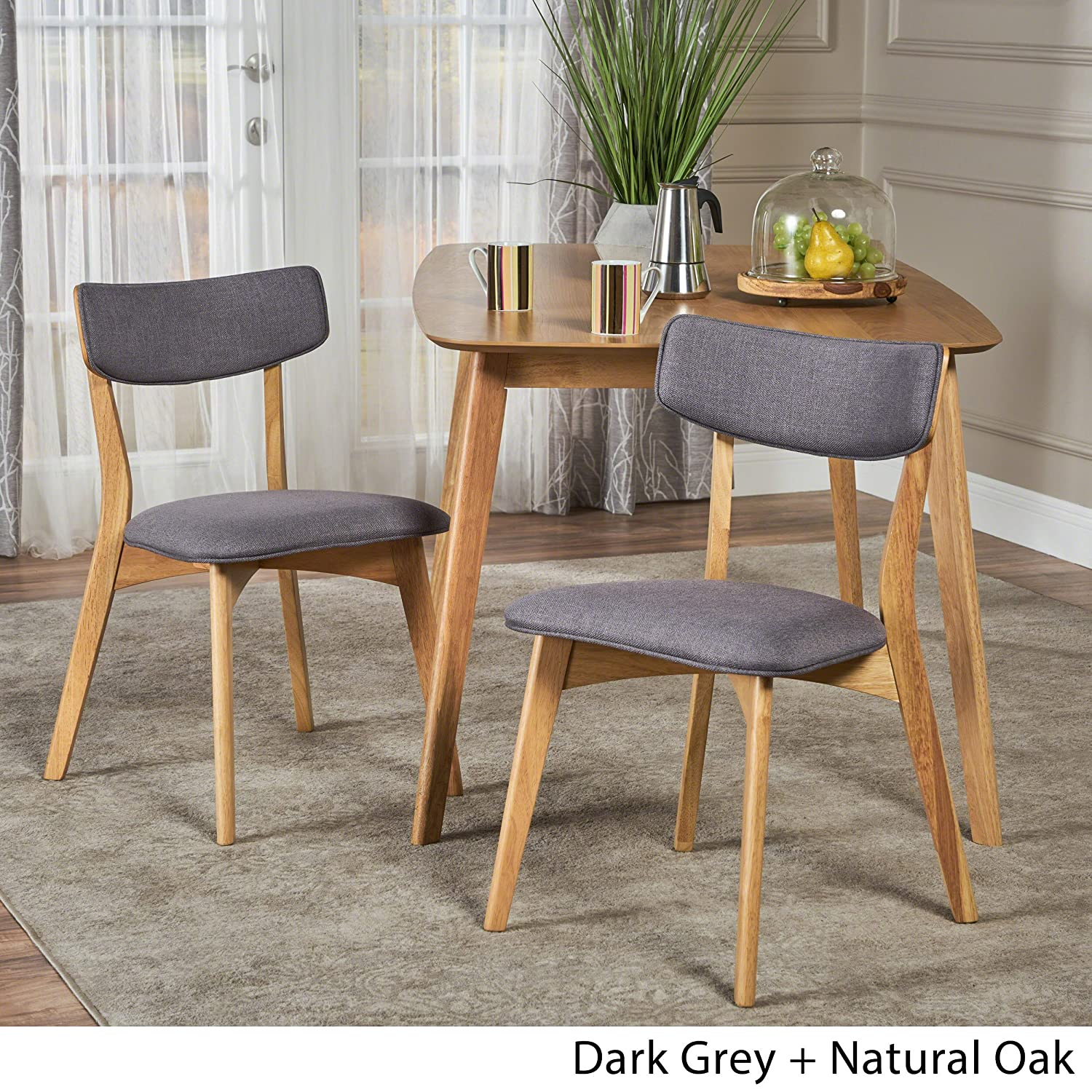 Amazon com molly mid century modern dark grey fabric dining chairs with natural oak finished rubberwood frame set of 2 chairs