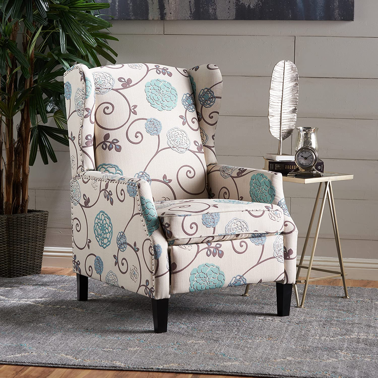 Christopher Knight Home 301080 Westeros Recliner Chair, White & Blue Floral