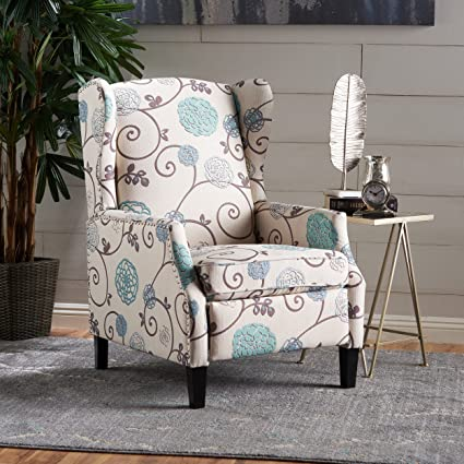 Lovely Westeros Traditional Wingback Fabric Recliner Chair (White U0026 Blue Floral)