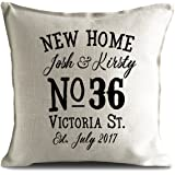 New Home House Moving, House warming Personalised Cushion Cover Gift with your House Number and Street Name - 40cm 16 inch - UK Seller
