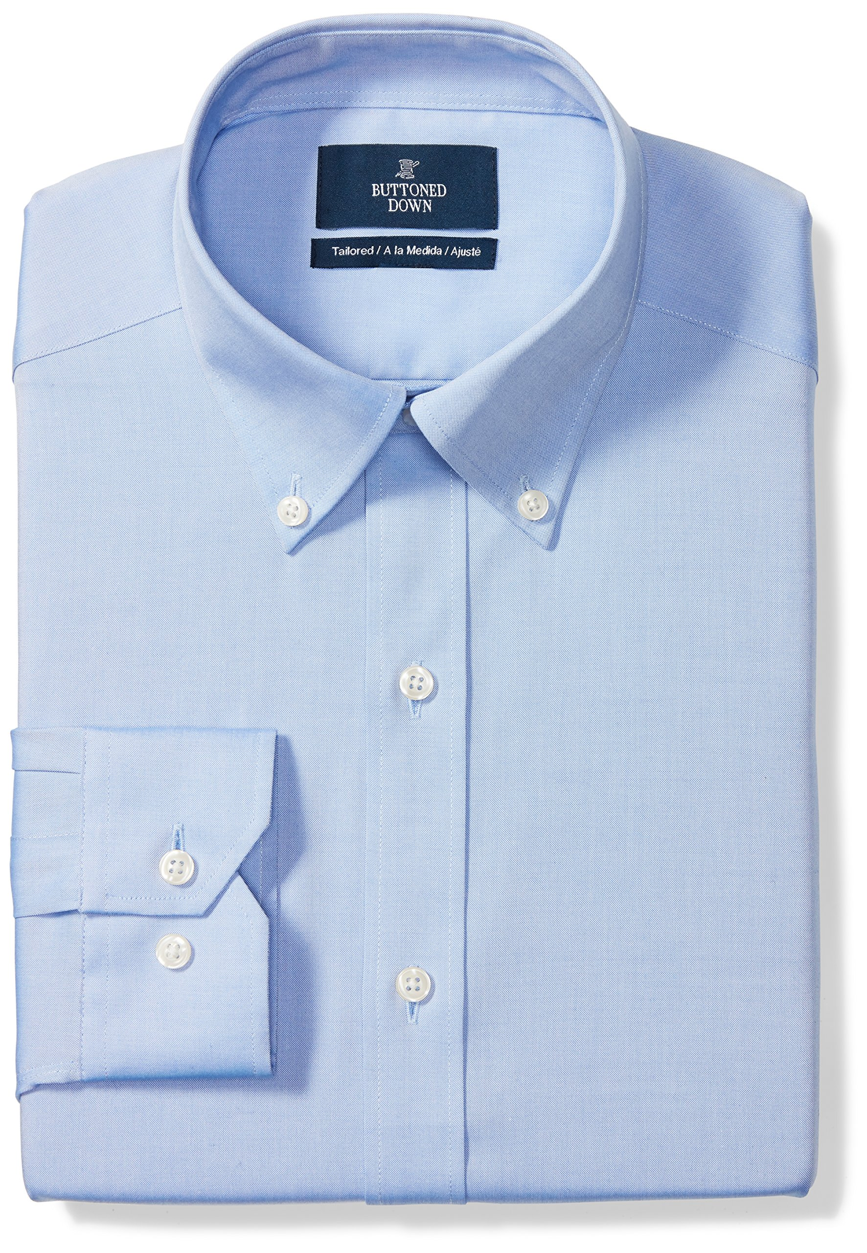 Buttoned Down Men's Tailored Fit Button-Collar Solid Non-Iron Dress Shirt (No Pocket), Blue, 16'' Neck 34'' Sleeve
