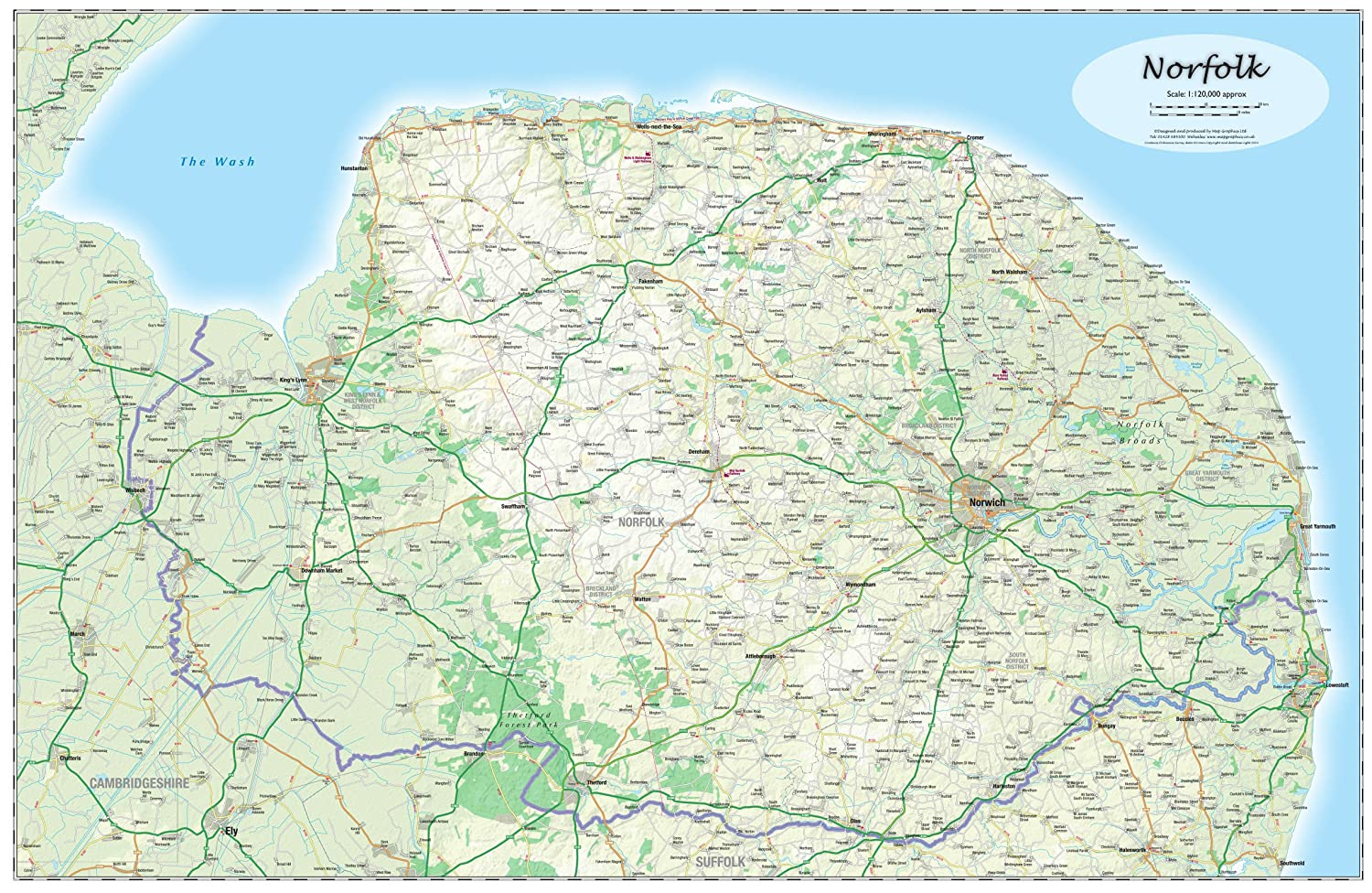 Norfolk County Laminated Wall Map Amazoncouk Office Products