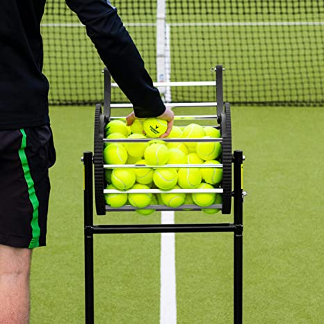 Amazon.com : Vermont Tennis Ball Roller Mower & Hopper - 85 Ball Capacity Pickup Hopper with Lockable Lid : Sports & Outdoors