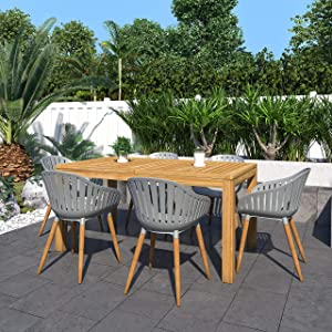 Amazonia Lapeer 7-Piece Outdoor Rectangular Dining Table Set   Certified Teak   Ideal for Patio and Indoors