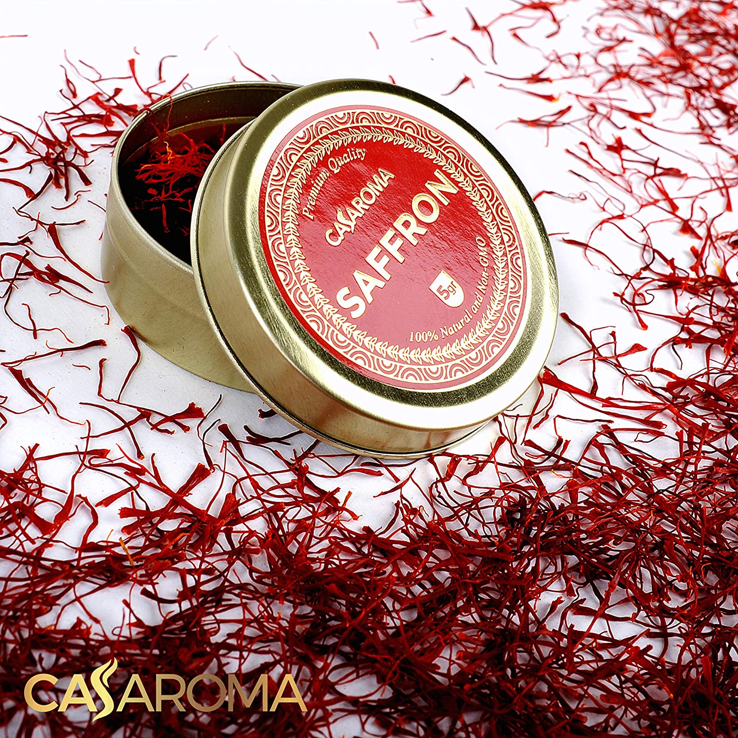CASAROMA 5gr All Red Saffron Threads, Pure Spice for Persian Rice, Paella, Organic Tea and Desserts, Natural Harvested and Spanish Grown, Non-GMO