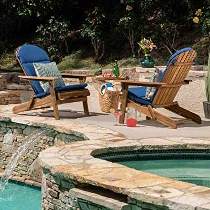 Surprising Great Deal Furniture Amenda Outdoor Acacia Wood Adirondack Chairs With Cushions Set Of 2 Natural And Navy Blue Cushion Machost Co Dining Chair Design Ideas Machostcouk