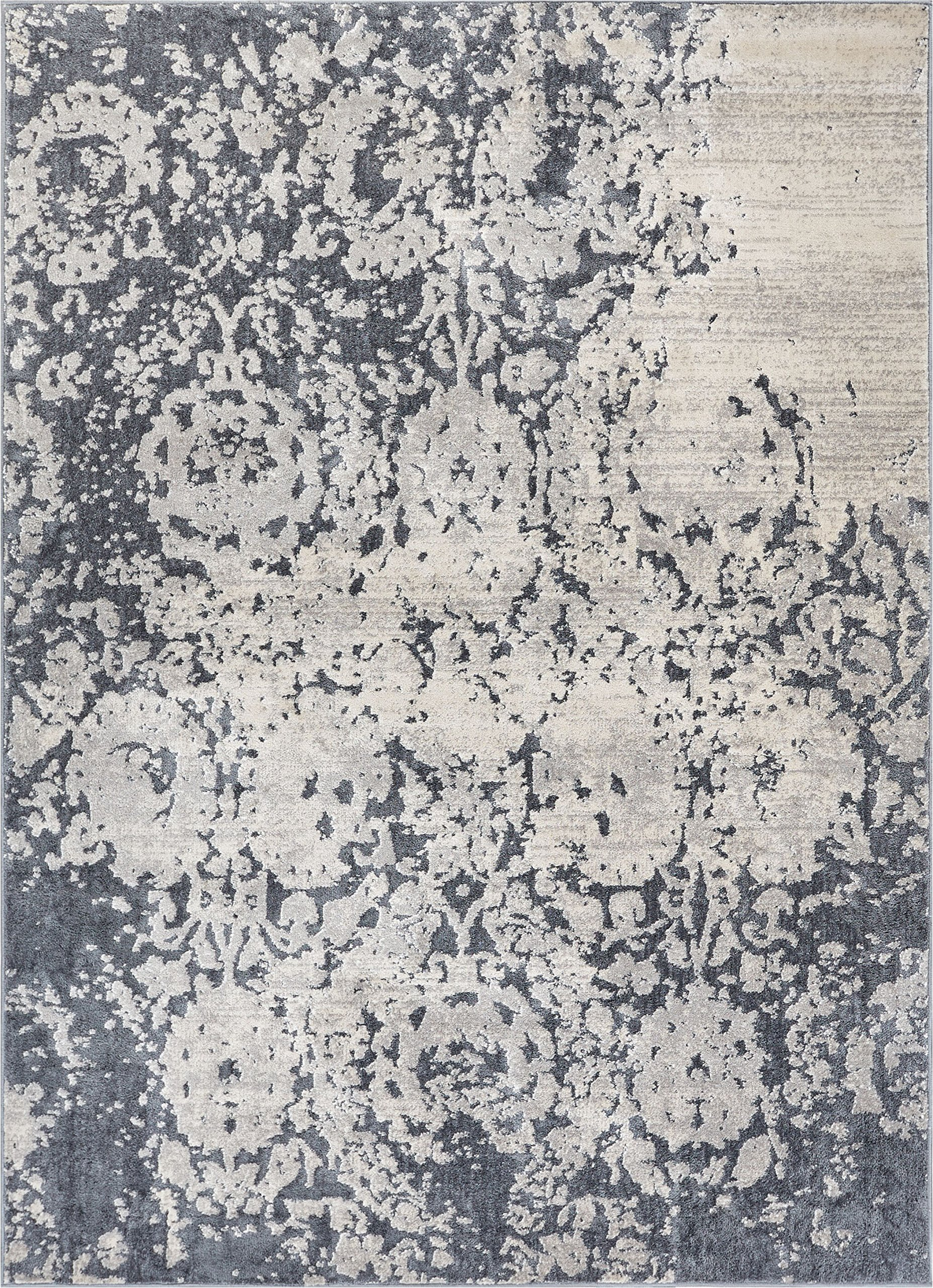 Forte Grey Microfiber High-Low Pile Vintage Abstract Erased Floral 8x10 (7'10'' x 9'10'') Area Rug Modern Oriental Carpet by Well Woven (Image #1)