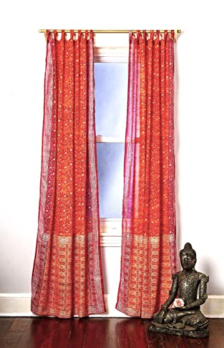 Colors by Padmini Curtains Light sari Window Treatment Boho Chic Draperies 108 96 84 inch for Bedroom Living room Dining room Kids Yoga Studio Canopy Bed Marigold Orange Curtain, Rust Saffron and Pink