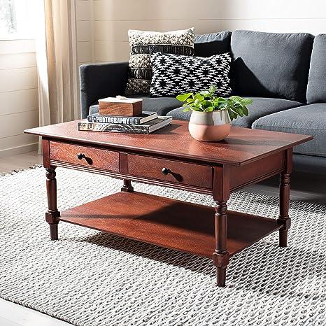 Amazon Com Safavieh American Homes Collection Boris Dark Cherry Coffee Table Home Kitchen
