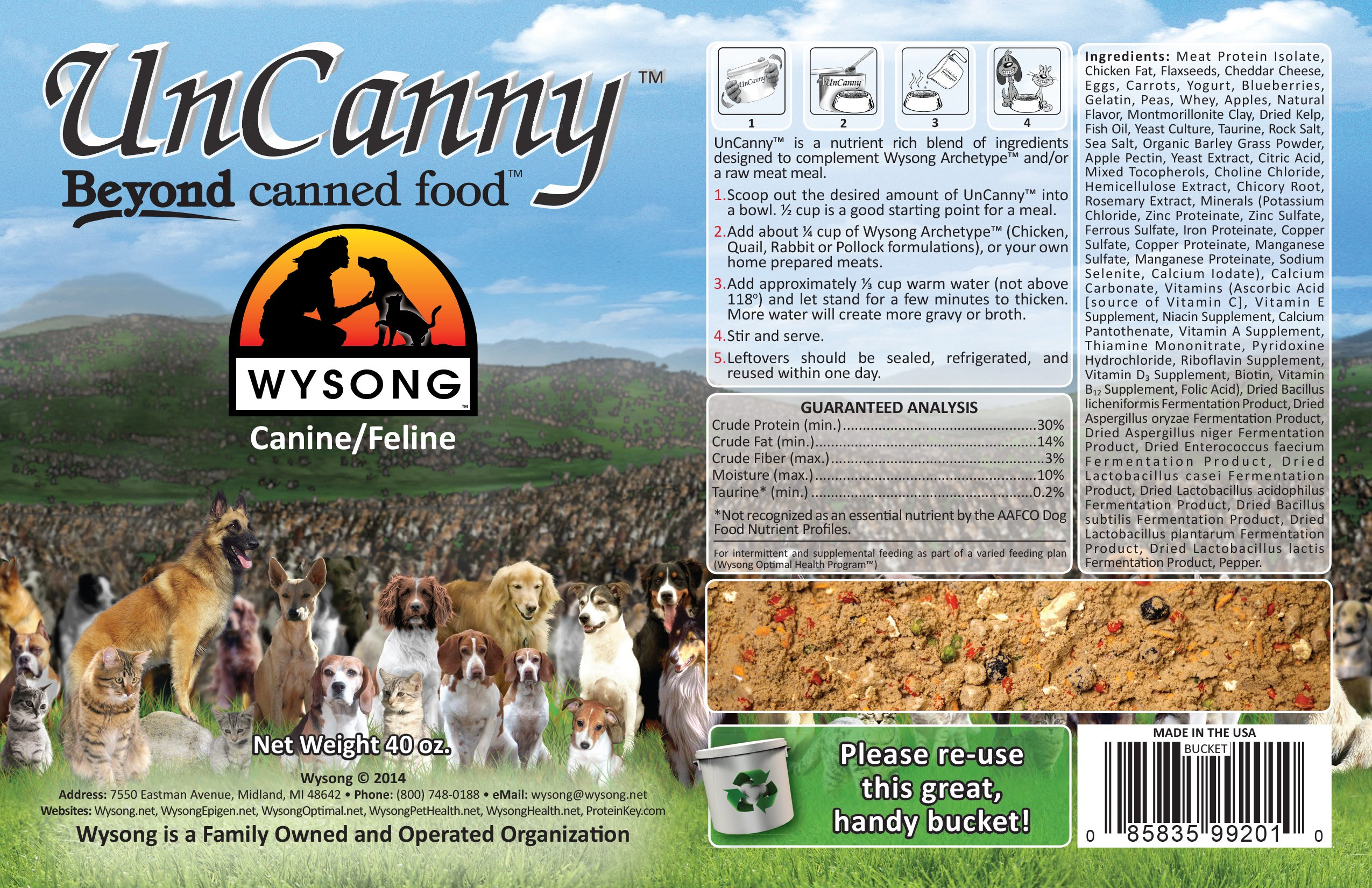 Wysong Uncanny Canine/Feline Raw Diet - Dog/Cat Food Supplement - 40 Ounce Bucket 3