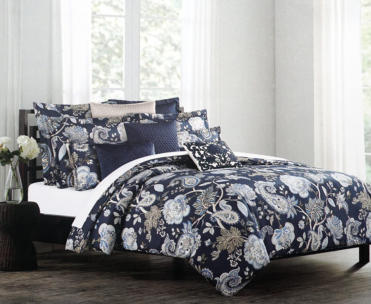 nicole miller bedding 3 piece cotton full queen duvet cover set jacobean 614614598381 ebay. Black Bedroom Furniture Sets. Home Design Ideas