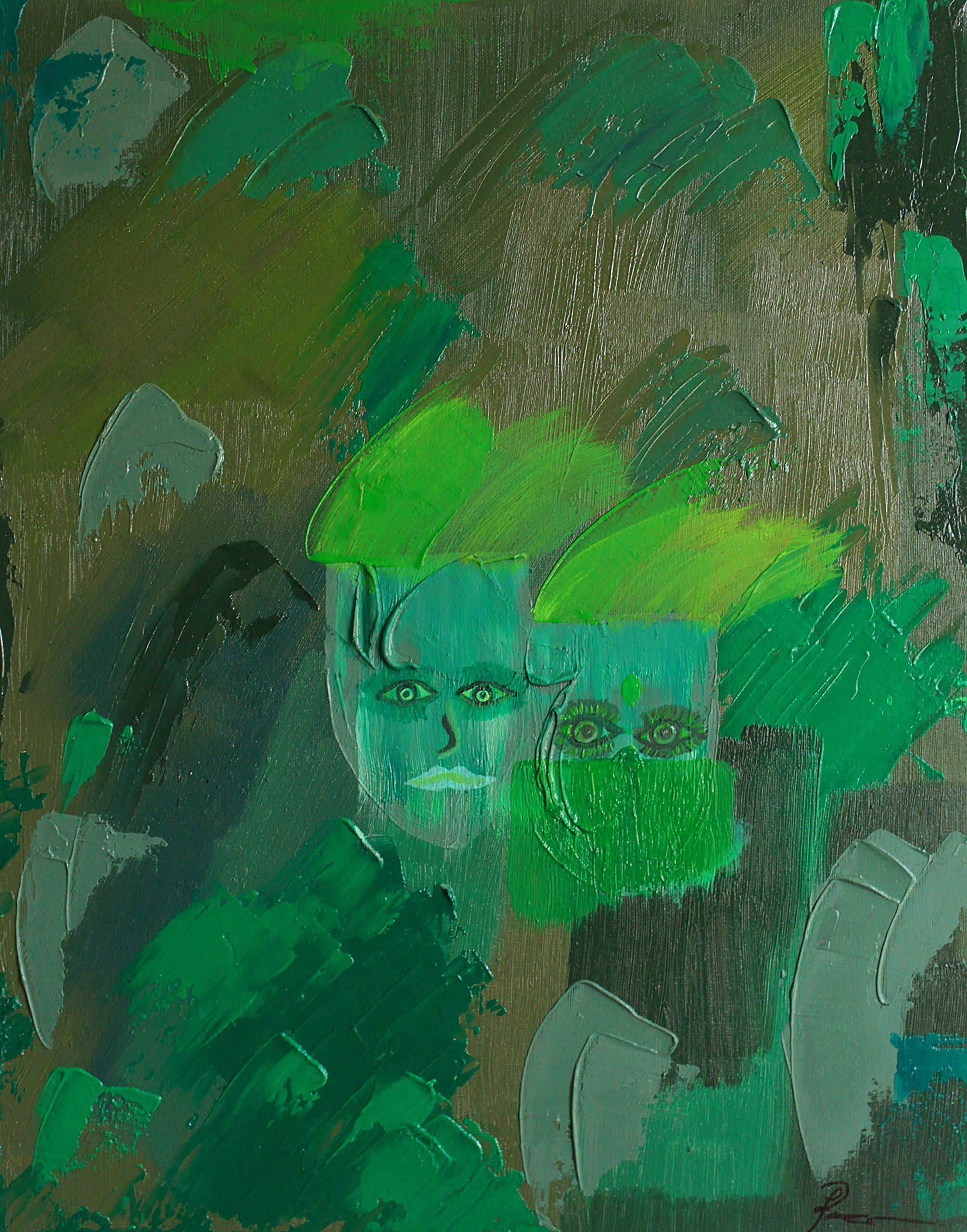 Modern Limited Edition Prints on Canvas of Paintings Indian Lovers Hindu Couples People of India Lime Bright Green Impasto Design Thick Paint Portraits Faces Expressionism Expressionist Large Wall Art