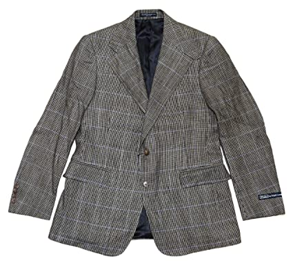 c217cd04 Ralph Lauren Polo Mens Sport Coat Blazer Jacket Linen Plaid Italy ...
