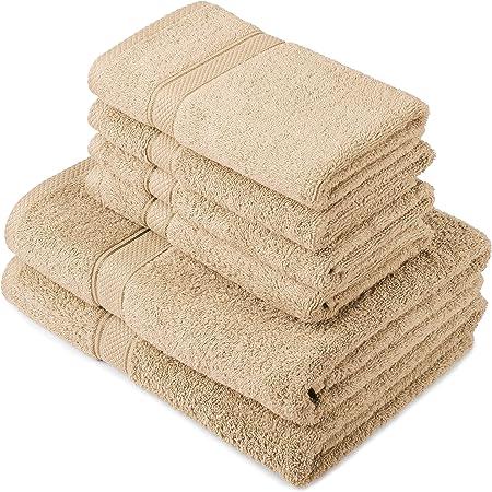 Pinzon by Amazon - Juego de toallas de algodón egipcio (2 toallas de baño y 4 toallas de manos), color beige: Amazon ...
