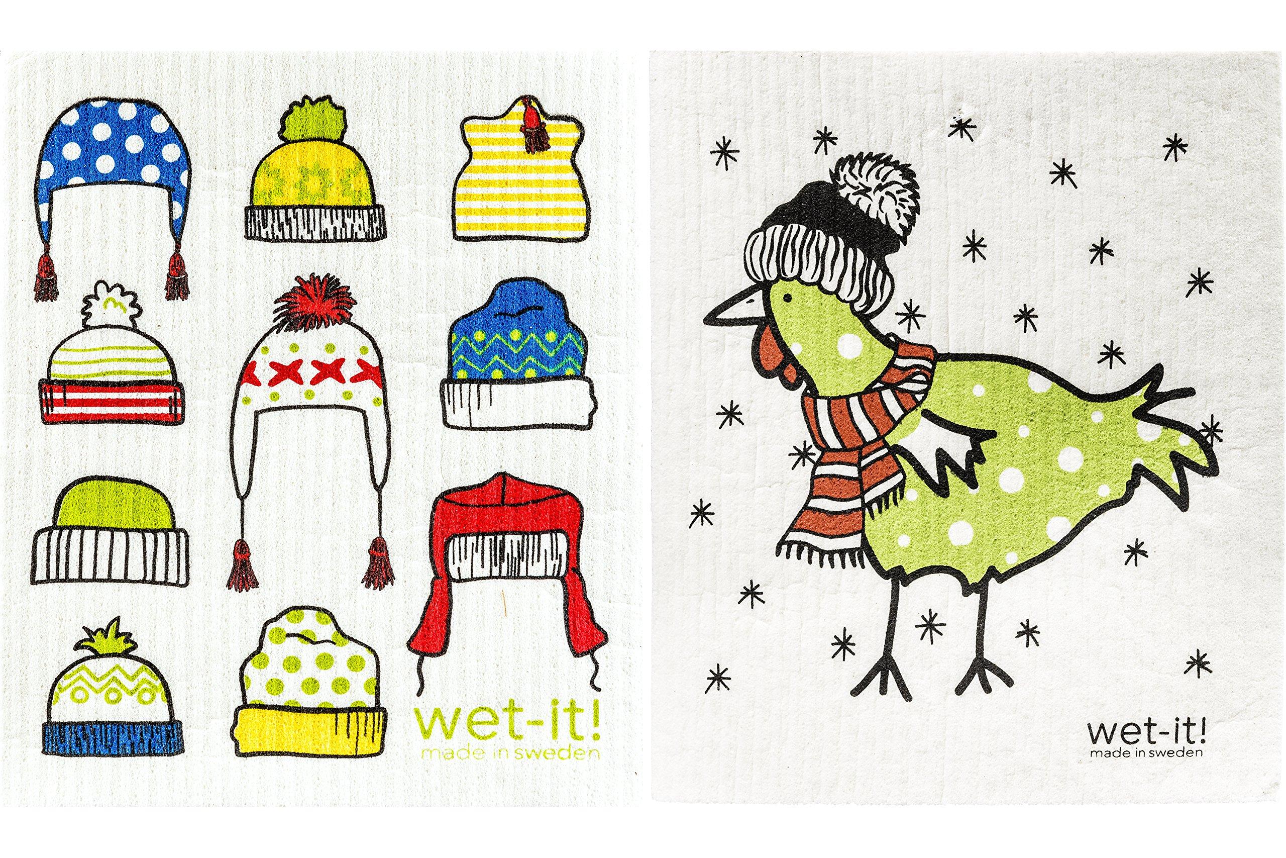 Wet-It Swedish Dishcloth Set of 2 (Winter Hats and Warm Green Chicken)