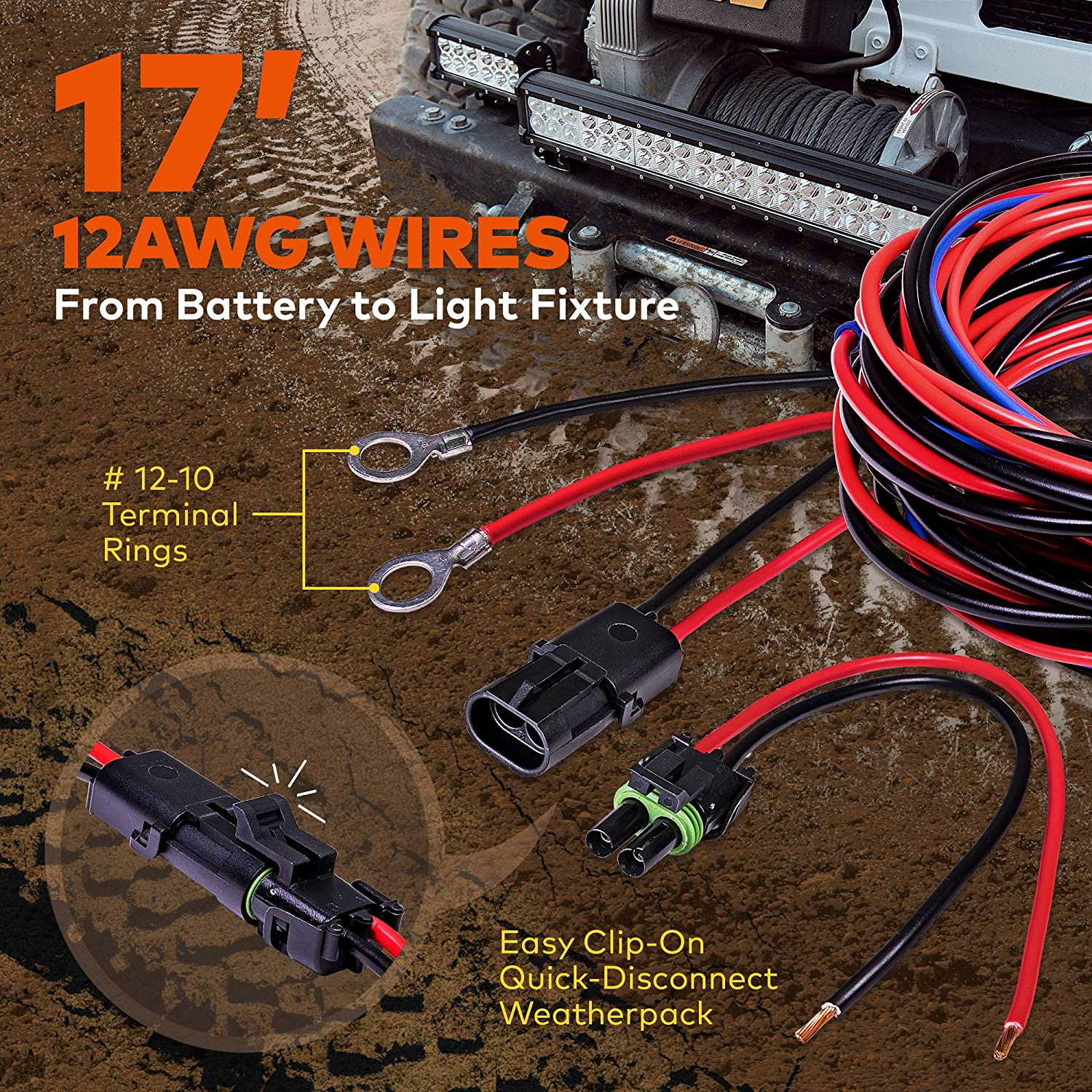 Lamphus 17 Off Road Atv Jeep Led Light Bar Wiring Daystar Ku80011 Diagram Harness Kit Made In Usa Hd 12awg Wire Ip65 Waterproof Rectangle Switch Heavy Duty
