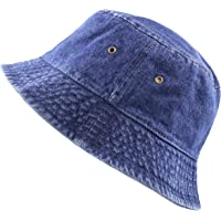 22091205423 The Hat Depot High Quality Washed Cotton Denim Bucket Hat