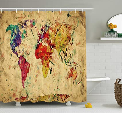 Ambesonne Retro Shower Curtain By Vintage World Map On Grunge Backdrop With Colored Continents Artsy