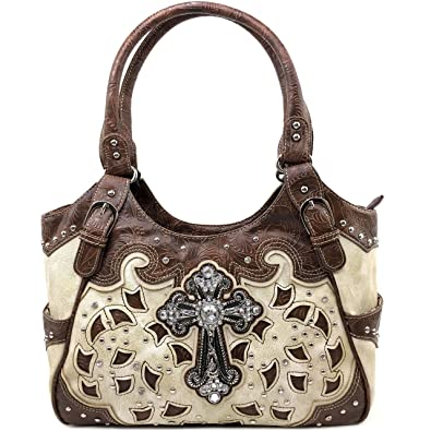 cbf2a3482 Amazon.com: Justin West Tooled Leather Laser Cut Rhinestone Concho Studded  Shoulder Concealed Carry Tote Style Handbag Purse Wallet (Beige Handbag):  Shoes