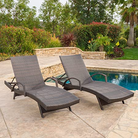 Set of 2 Olivia Outdoor Brown Wicker Armed Chaise Lounge Chair