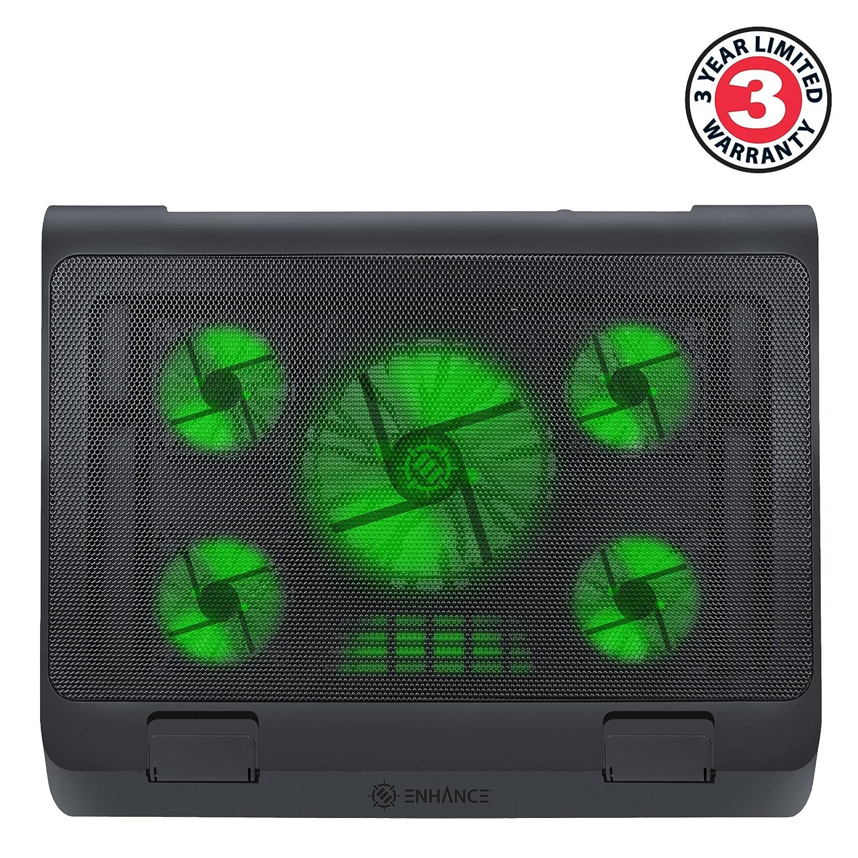 ENHANCE Base de Refrigeración Soporte de Enfriamiento con LEDs Para Ordenador Portátil de hasta 19 Pulgadas , Color Verde y Puertos USB para Conectar ...