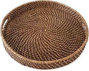 Round Wicker Serving Trays and Platters with Handles | Handcrafted Trays for Breakfast, Food, Dish, Coffee Table, for Home and Restaurants - 16 inch Diameter (Honey Brown)