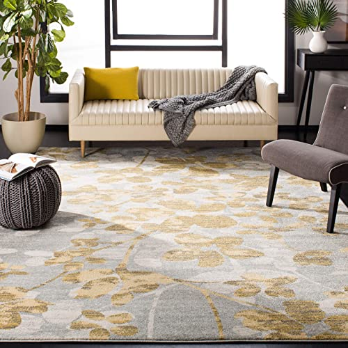 Safavieh Evoke Collection EVK236P Vintage Floral Grey and Gold Area Rug 8 x 10