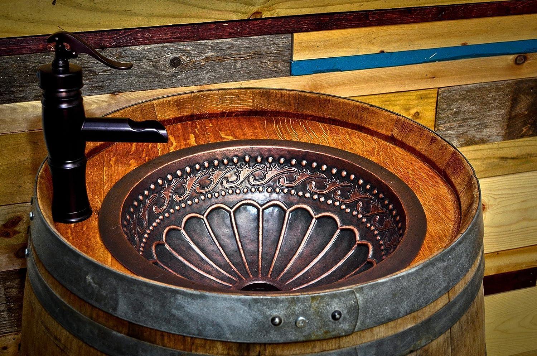 Amazon Com Wine Barrel Copper Sink Vanity With Hidden Hinged Door And Antique Waterfall Faucet Handmade